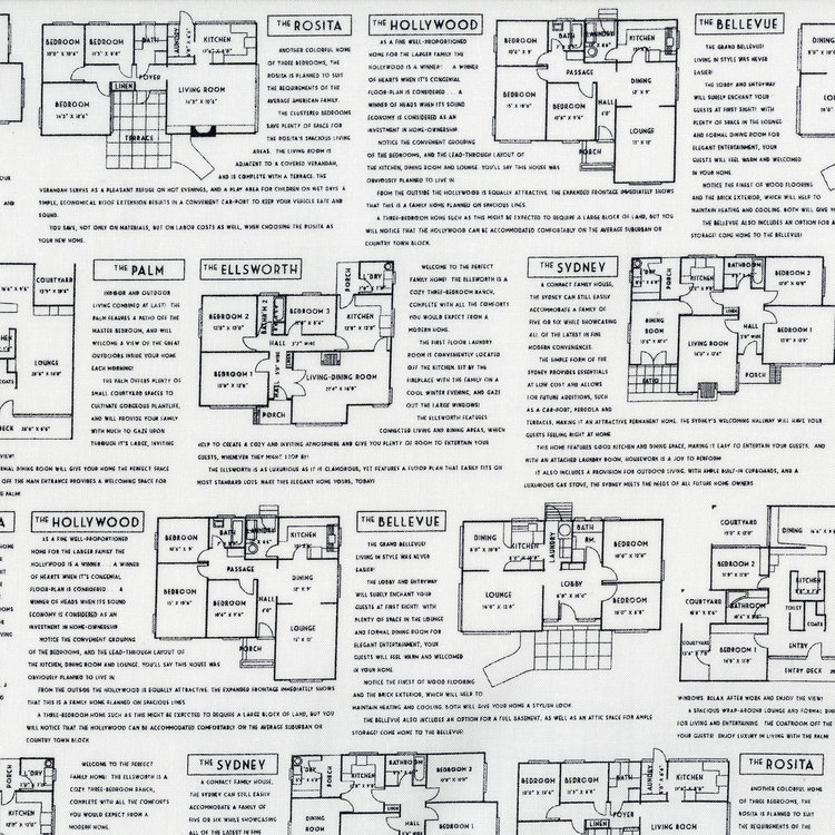 Floor Plans-Black on White Fine Print